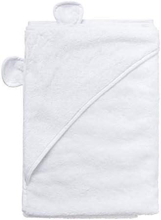 Toalla de baño con capucha, algodón 100%, muy suave al tacto, ideal como regalo para recién nacido, color blanco