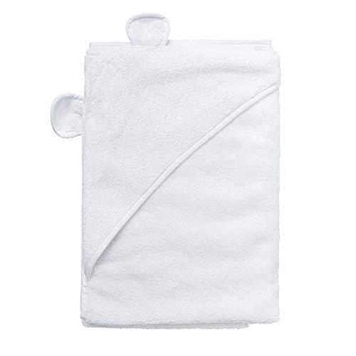 Badetuch mit Kapuze, 100% Baumwolle, sehr weich, Weiß