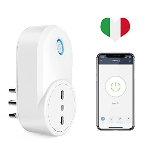 Presa Intelligente WiFi, Maxcio Presa Smart Italiana 16A Compatibile con Amazon Alexa e Google Home, Controllo Vocale, App Telecomando Remoto, Energia Monitor, Funzione di Timer e Family Share