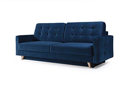 mb-moebel Schlafsofa Kippsofa Sofa mit Schlaffunktion Klappsofa Bettfunktion mit Bettkasten Couchgarnitur Couch Sofagarnitur - Carla (Marineblau)