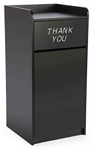 36 Gallon Restaurant Fast Food Trash Bin, Receptacle with Door, Tray Holder (Black Melamine)