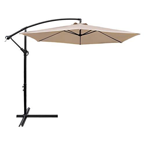 Devoko 10 Ft Patio Offset Cantilever Umbrella Outdoor Market Hanging Umbrellas with Crank & Cross Base Suitable for Garden, Lawn, backyard, Deck and Poolside (Beige)