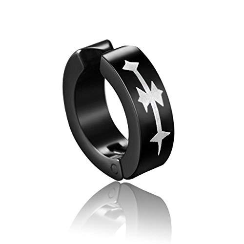 XAOQW 1Pc Punk Negro Pendientes Masculinos Pendientes No Alérgicos Alfiler de Titanio Ear Clip Pendientes Sin Piercing Moda Hombres Mujeres Joyería-4