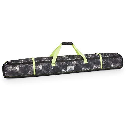 High Sierra Padded Ski Bag for Single Pair of Skis (Up to 185cm) - Buffalo Plaid/Black/Crimson