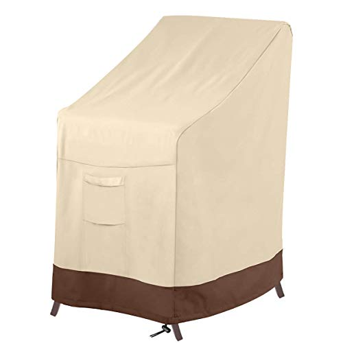 Vailge Stackable Patio Chair Cover,100% Waterproof Outdoor Chair Cover, Heavy Duty Lawn Patio Furniture Covers,Fits for 4-6 Stackable Dining Chairs,36' Lx28 Wx47 H,Beige&Brown