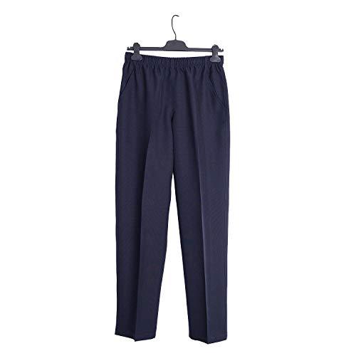 Pantalón Adaptado Hombre - Tallas Grandes - Pantalon Vestir con Goma en la Cintura (Marino, L)