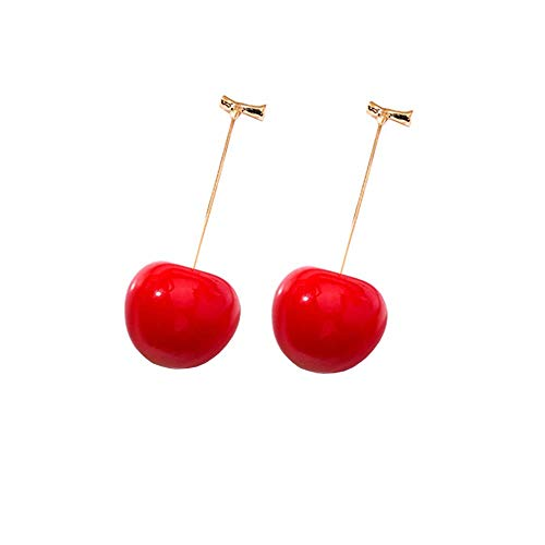 ONEYIM 3D Red Cherry Drop Earrings Cute Fruit Gold Dangle Earrings Charm Jewelry Gift Earrings for Women Girls (A)