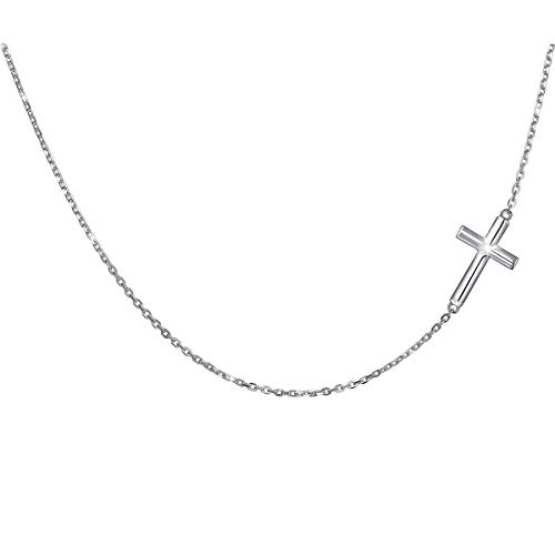 DAOCHONG Seitwärts Kreuz Choker Halskette Sterling Silber Damen Kreuz Schmuck