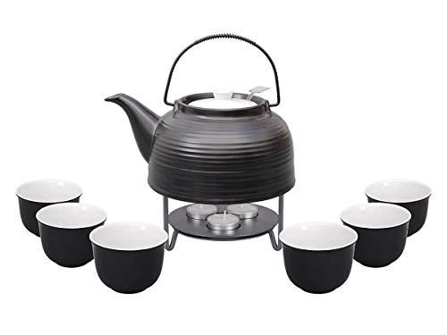 tea4chill Nelly - Servicio de té Moderna Tetera de 1,5 litros en Color Negro de cerámica Resistente al Calor con Filtro de Acero Inoxidable, 6 Tazas de 120 ml en Blanco y Negro y teteras de Metal.