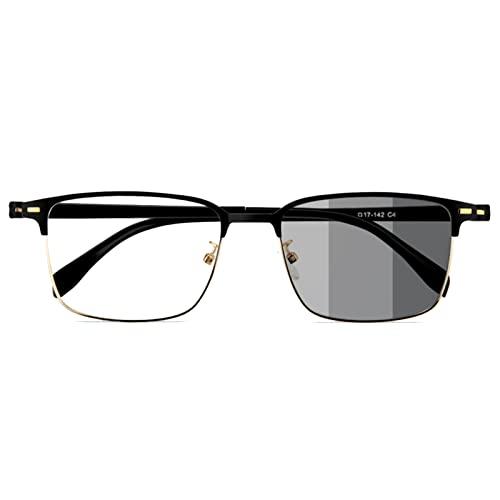 KUWD Gafas De Lectura Progresivas De Enfoque Múltiple, Gafas De Hombre, Gafas De Sol De Alta Definición para Mirar De Lejos Y De Cerca, Gafas para Personas Mayores, Gafas Cuadradas, Caminar, Conduci