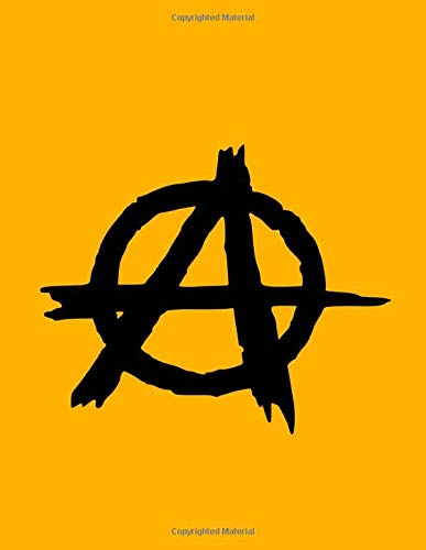 Notebook. College Ruled. Anarchy Symbol. Lined paper. Writing. Notes. Agenda. Yellow notebook. Composition.: Student. Office. School. Symbol. A.