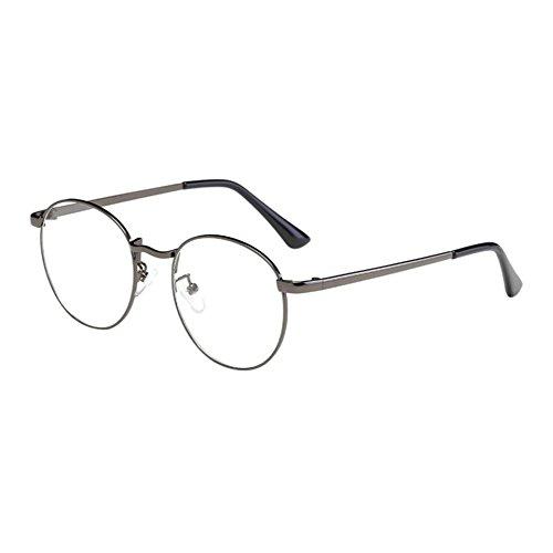 Zhuhaixmy Unisex Klassisch Metall Runden Felge Komfortabel Brille Kurzsichtig Kurzsichtigkeit Brillen Harz Löschen Linsen (Stärke -1.0, GunGray) (Diese sind nicht Lesen Brille)