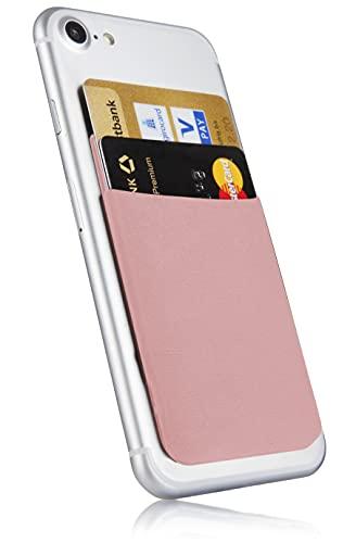 MyGadget Tarjetero Adhesivo para Funda Móvil - Porta Tarjetas de Crédito con Bloqueo RFID - Bolsillo Card Holder para Apple iPhone, Samsung, Huawei - Rosado