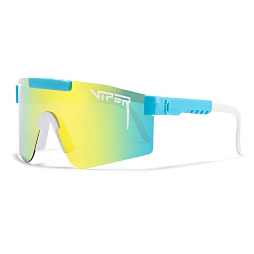 Qianghua Gafas de Sol Deportivas polarizadas, Gafas de protección UV 400 con Personalidad a la Moda y Coloridas, Marco Grande, para Deportes al Aire Libre Ciclismo Correr Escalada Pesca,A22