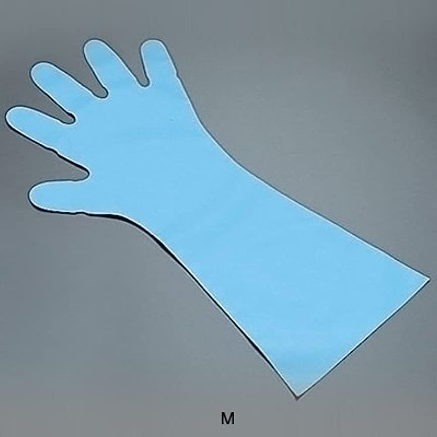 針満了必要ないエンボス手袋 五本絞り ロング#50 (1袋50枚入) M 全長45cm <ブルー>
