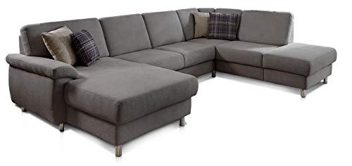 CAVADORE Wohnlandschaft Winstono mit Federkern und Longchair links / U-Form mit Relaxfunktion / 317 x 88 x 220 / Grau