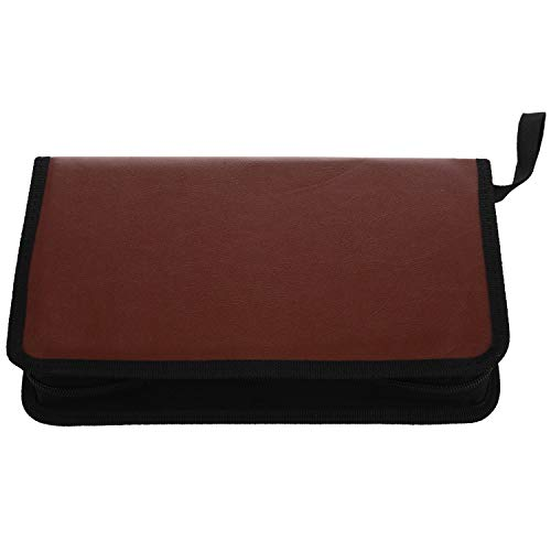 Deesen Bolsa de Almacenamiento de Cuero portatil de 80 Discos Caja de Almacenamiento con Cremallera para CD DVD Disco Duro Album - Marron