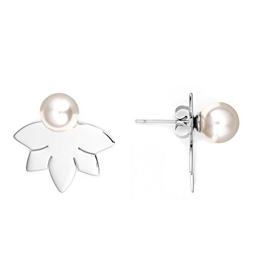 Heideman Ohrringe Damen Lotusblume aus Edelstahl silber farbend poliert Ohrstecker für Frauen 2 in 1 Doppelstecker mit Swarovski Perle weiss rund 8mm