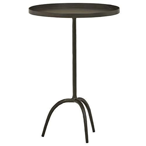 "Amazon Brand – Stone & Beam Industrial Round End Pedestal Table, 16.14""W, Gunmetal"
