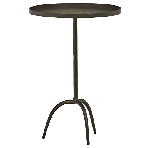 "Amazon Brand – Stone & Beam Industrial Round End Pedestal Table, 16.14""W, Gunmetal"