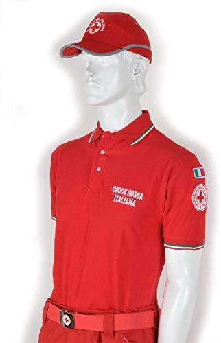 Generico Polo Croce Rossa Ricamato (Modello Italia Tricolore - 100% Cotone) (2XL)