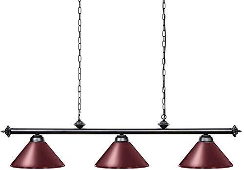 YHYGOO Billardtischlampe 7-9ft DREI Metallschirm, Lampe Billardtisch mit Männern Nest, EIN Spielzimmer, Küche Insel Licht Restaurant Esszimmer schwarz,1