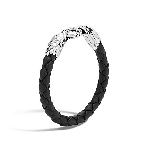 MEN's Legends Eagle Silver Double Head Bracelet on Woven Black Leather 8mm with Black Onyx Eyes, Size L