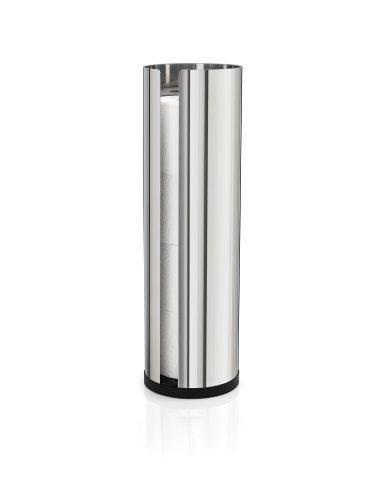 blomus -NEXIO- WC-Rollenhalter aus poliertem Edelstahl, Toilettenpapierhalter mit Platz für bis zu 4 Rollen, modernes Badaccessoire ohne Montage (H / B / T: 45,5 x 13,5 x 13,5 cm, Edelstahl, 66658)