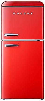 Galanz GLR46TRDER Mini Nevera con puerta doble, termostato mecánico ajustable con True Freezer, 4.6 pies cúbicos, rojo