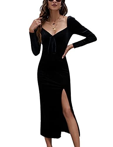 UUAISSO Kleid Damen Winterkleid Langarm Abendkleider Lange Elegant Bodycon Samtkleid Festliche Partykleid Schwarz S