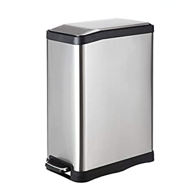 Home Zone VA41311A Rectangular Step Stainless Steel Trash Can Bin (1 Pack), 12 gal/45L, Silver