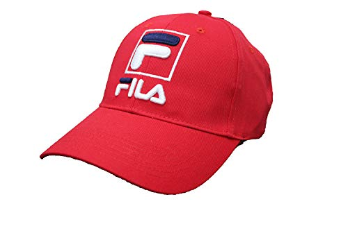Fila Unisex Heritage Adjustable Baseball Cap hat with Embroidered Logo (Chinese Red)
