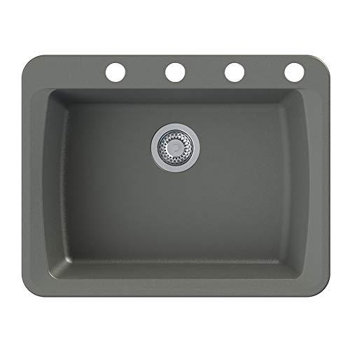 Transolid GTSB2520-17-BCDE Genova SilQ Granite 4-Hole Dual-mount Single Bowl Kitchen Sink, 25-in L x 20-in W x 8-in H, Grey