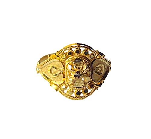Oro fino amarillo macizo de 18 quilates (18 quilates) Tallado ovalado Diseño Señoras Anillo Tamaño -12.75 Joyas preciosas hechas a mano en la India para regalos,aniversario,boda,compromiso
