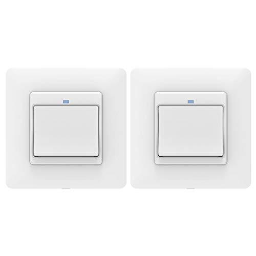 MoKo WiFi WLAN Smart Lichtschalter, 1 Gang Tastschalter Wandschalter Schalter Fernbedienung, APP- und Sprachsteuerung, Kompatibel mit Alexa Echo Google Home SmartThings ohne Hub Benötig - 2 Packs