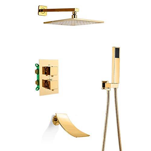 Sistema de ducha tipo lluvia Termostático dorado Mezclador de lluvia Juego combinado de ducha Montado en la pared Juego de grifos de ducha con cabezal de ducha tipo lluvia, Ducha de mano, Caño en cas
