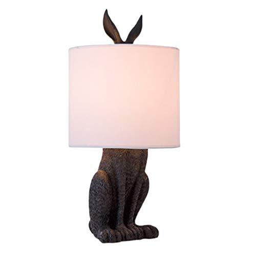 Kiter Tafellamp vierkante bedlamp, decoratieve slaapkamerverlichting van retro creatieve gemaskerde konijnen, stoffen lampenkap nachtkastje lampje woonkamer bureaulamp