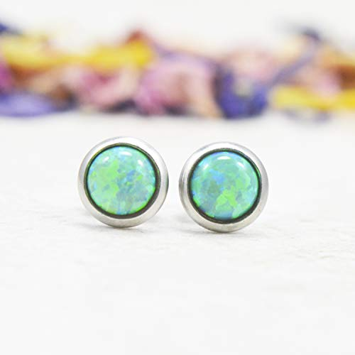 8mm Pink Abalone Shell Stud Earrings For Women Hypoallergenic Surgical Steel