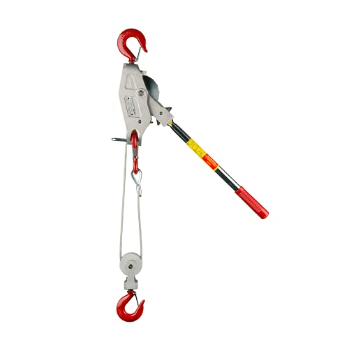 Lug-All 3000-10 Industrial-Grade Cable Come Along Ratchet Winch Hoist Featuring Double or Single Line Lift Capabilities With 1 1/2 Ton Capacity