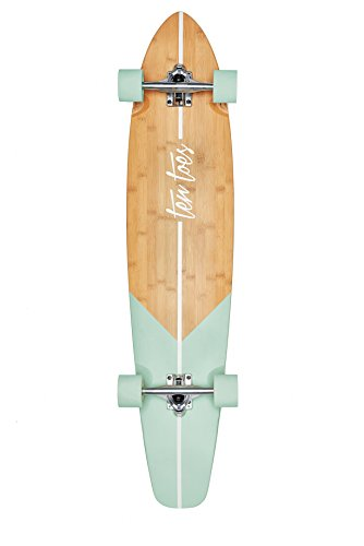Ten Toes Board Emporium Zed Bamboo Longboard Skateboard Cruiser, 44', Aqua Fishtail