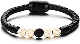 LEIGAGA 2019 Vintage Genuine Leather Magnet Bracelet Natural Healing Balance Beads Reiki Buddha Prayer Wrap Bracelets Men Women Jewelry