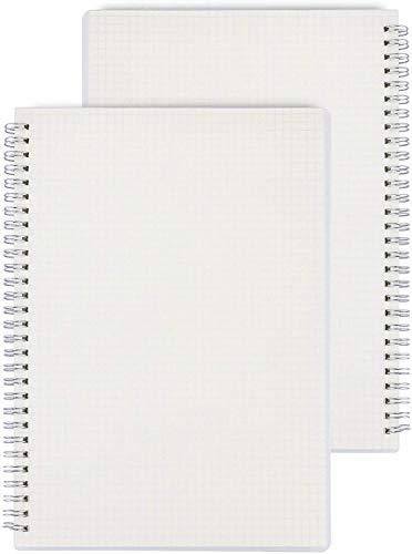 Notebook A5, Transparant Hardcover Grid Notebook Wirebound Hardback Spiraal Gebonden A5 Travel Journal Grid Agenda Planner Notepad Sketchbook Dagboek met Grid Papier 160 paginas/80 vellen, 2 Packs