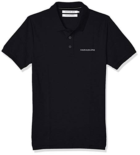 Calvin Klein Jeans Mens Stretch INSTITUTIONAL Slim Polo Shirt, Ck Black, XL