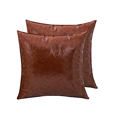 Amazon - 50% Off on Set of 2 Faux Leather Throw Pillow Covers Thick Cognac Square Pillow