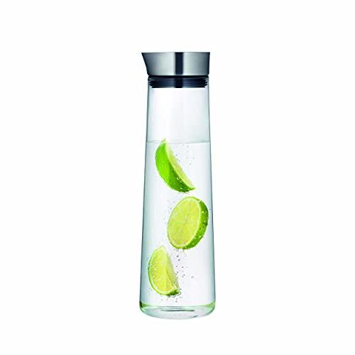 blomus -ACQUA- Wasserkaraffe aus Glas, 1 Liter Fassungsvermögen, Glaskaraffe mit hochwertigem Edelstahl-Deckel, tropffreies Ausgießen, exklusive Optik (H / B / T: 30,5 x 9 x 9 cm, Klar, 63436)