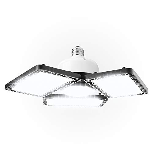 LED Garage Light, Deformable Garage LED Ceiling Light, 150W 15000LM Super Bright Basement Light with Adjustable Multi-Position Panels, 6500K Daylight Screw In Triple LED Garage Light Bulbs Fixture