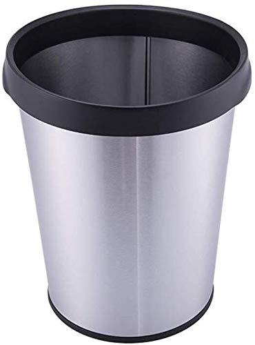 Cubo de basura para el hogar sin cubierta, Lijado antihuellas de acero inoxidable, cubo de basura rectangular redondo de reciclaje de residuos bin10 l (color: plata, tamaño: A)