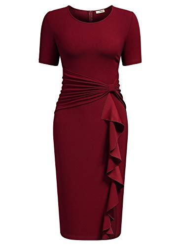 AISIZE Women 50s Vintage Ruffle Peplum Cocktail Pencil Knee Dress Medium Dark Red