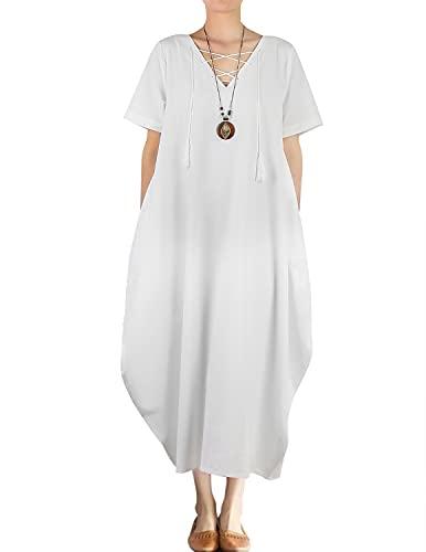 JENJON Mujer Vestido Manga Corta Algodón De Lino Cuello en V Casual Boho Verano Maxi Dress Blanco XXL