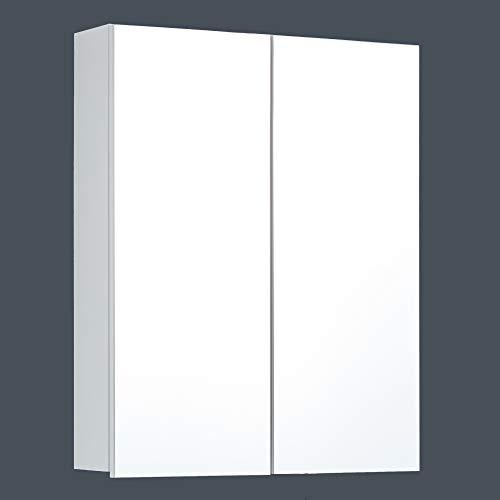 trendteam smart living Badezimmer Spiegelschrank Skin, 60 x 67 x 18 cm Front Spiegelglas, Korpus Weiß Melamin mit viel Stauraum, 60 x 67 x 18cm (BxHxT)
